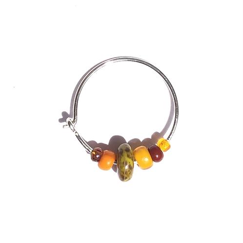 toasted honey yellow, olive & marigold glass mini hoop