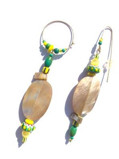 surrender abalone shell & venetian trade bead earrings