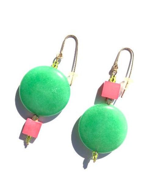 carnival games green aventurine & pink mother of pearl earrings