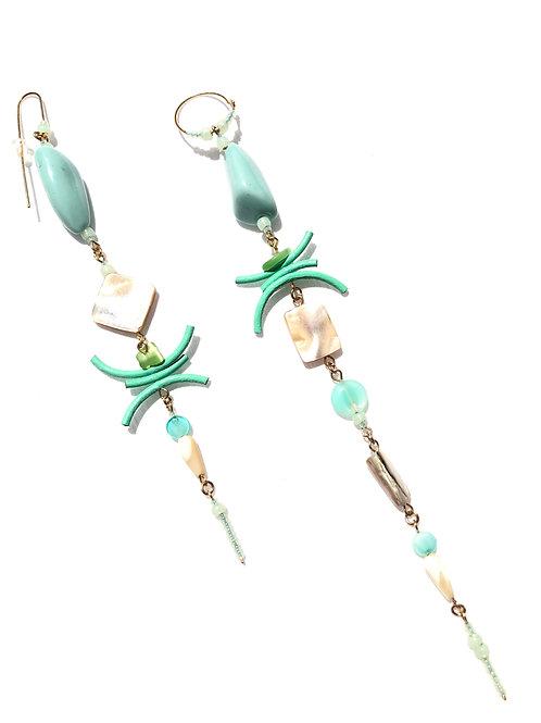 mindful meditation mint green leather & ceramic earrings