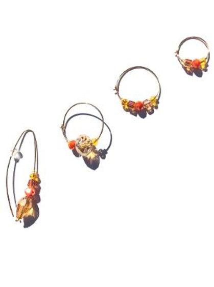blazin' yellow, orange & red crystal 4 piece earring set