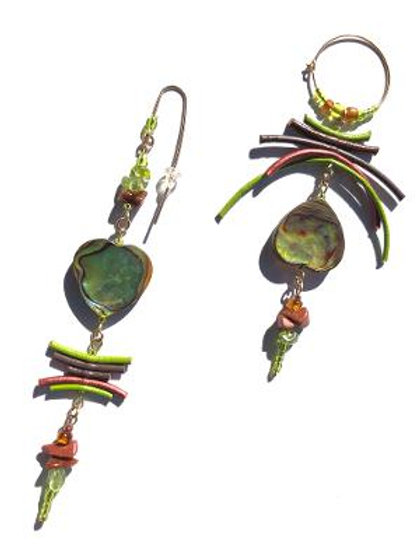 austere autumn green paua shell with lime, chocolate & bronze leather earrings