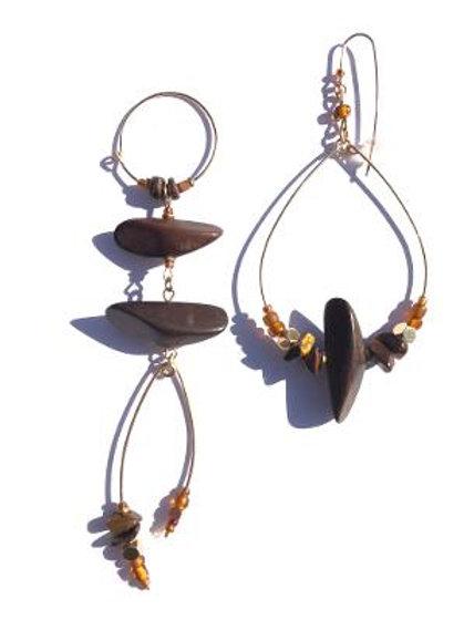 kick up your heels ebony & tiger eye earrings
