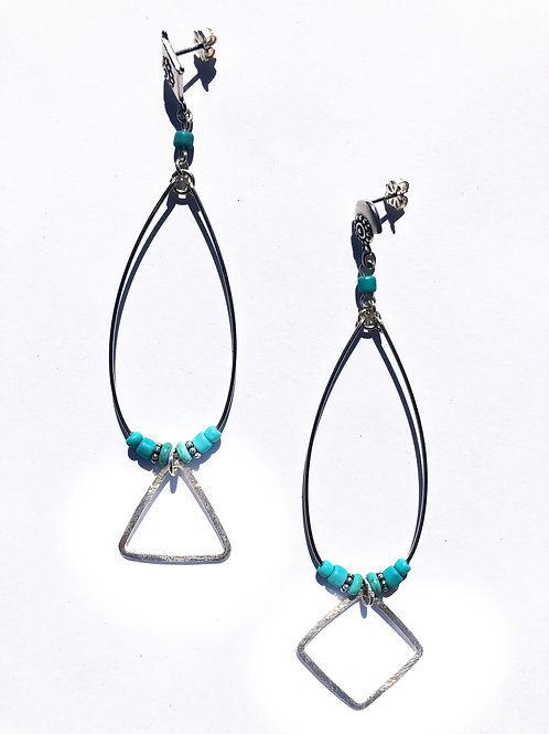 gently geometric sterling silver and turquoise earrings