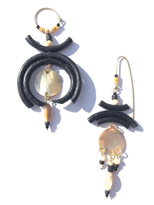 power play black leather & abalone shell earrings