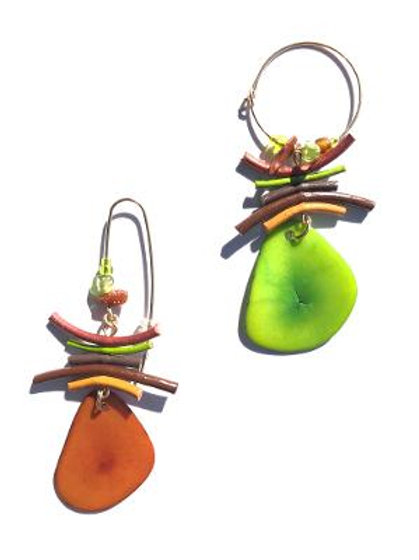 walk in the park caramel & lime tagua nuts with lime, chocolate leather earrings