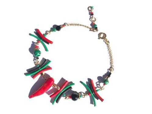 free to speak red, black & green leather with malachite & red coral anklet
