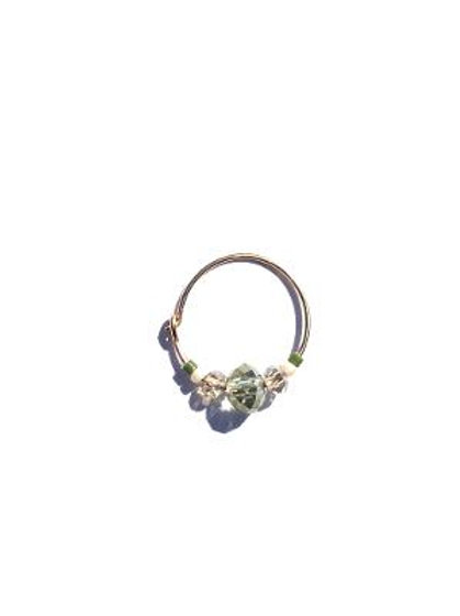empress true green & champagne crystal small single hoop