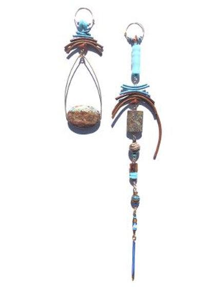 blissful jasper with blue & brown leather, goldstone & cat's eye earrings