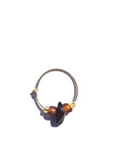 toffee tiger eye & glass small single hoop