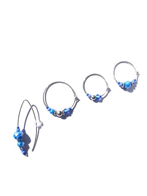 crazy cornflower blue crystal & sterling silver 4 piece earring set