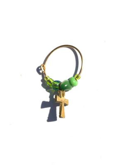 meadow life green mother of pearl & glass with brass ankh single hoop earring