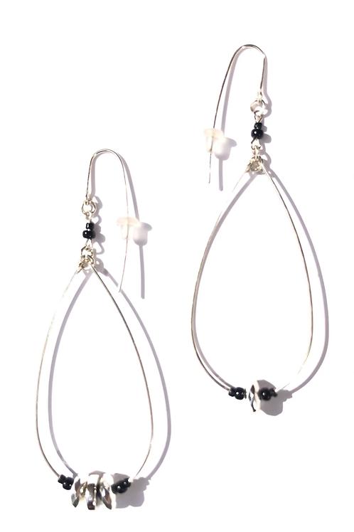 dance all night sterling silver, crystal & black glass loop earrings