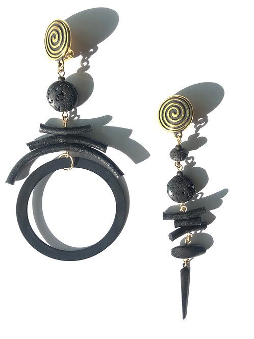 all night long black leather & lava stone clip on earrings