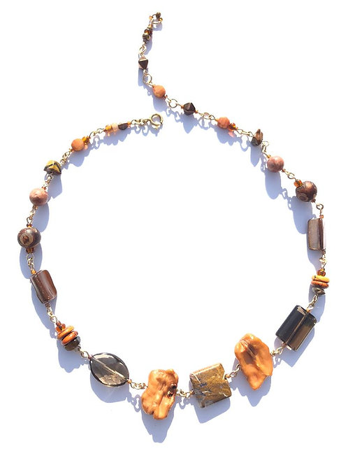 nature's feast fresh water pearl, smoky quartz & jasper choker