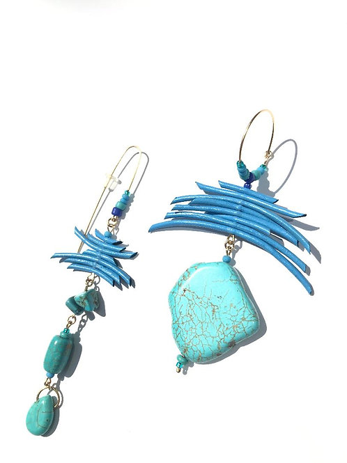 almost paradise turquoise & cornflower blue earrings