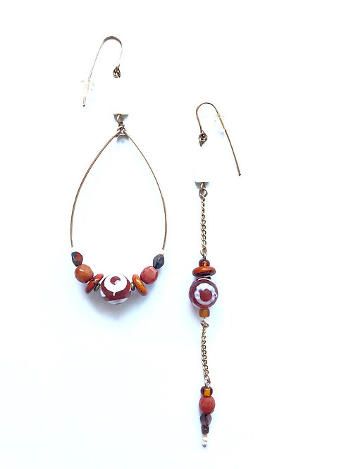fire pit burnt orange & white agate loop& straight earrings