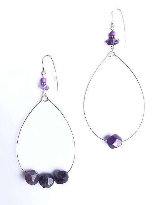 grape surprise sterling silver & amethyst loop earrings