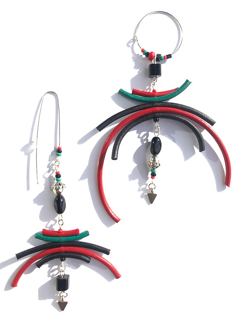 powerful poise red, black & green leather & sterling silver earrings