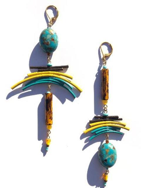 earth meets sky jasper, leather & ceramic earrings