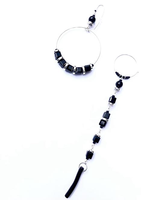 stage ready sterling silver, black crystal, onyx & hoop & straight earrings