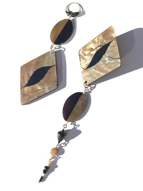 cracked diamond abalone shell & black pen shell earrings