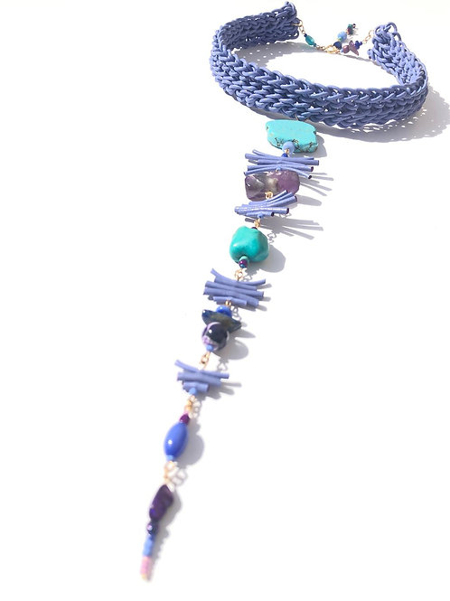 purple paradise leather, turquoise & amethyst choker