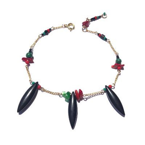 straight, no chaser soapstone, malachite & red coral ankle bracelet