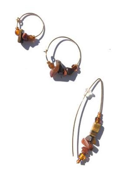 three times three tiger eye, goldstone & glass 3 piece earring set