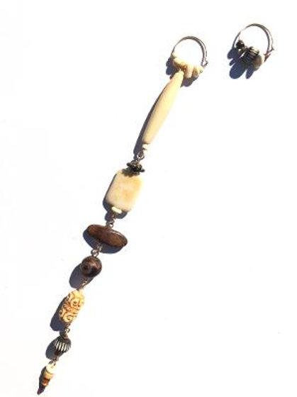 toasted sands bone, ebony & agate shoulder duster & hoop earrings