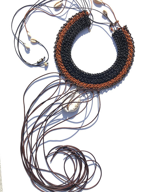 african goddess caramel, chocolate & black leather collar with leopard cowrie