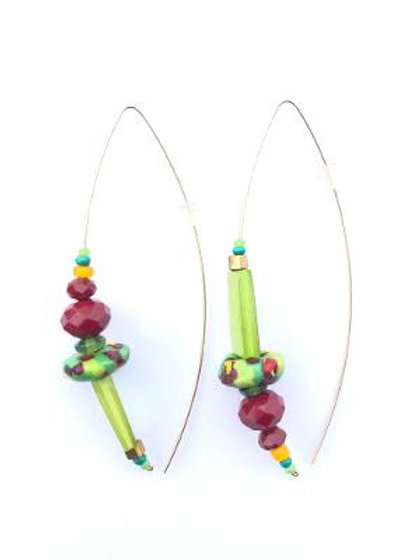 bright light bordeaux crystal, trade beads & lime mother of pearl earrings
