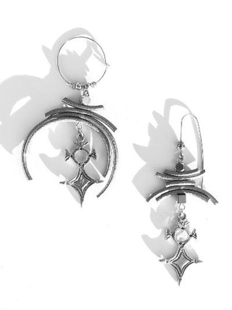 soul soothing silver leather & sterling silver coptic cross earrings