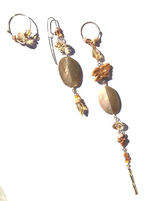 sunset roads abalone, fresh water pearl & crystal 3 piece earring set