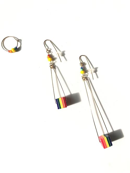 over the rainbow acrylic 3 piece earring set