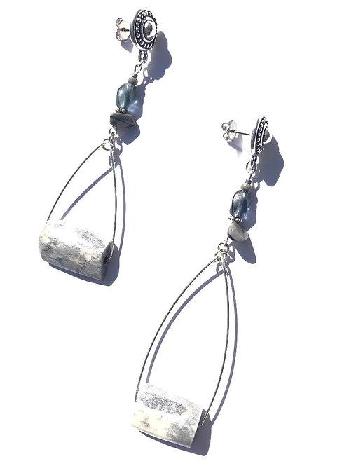 sexy silver fox grey bone & sterling silver earrings