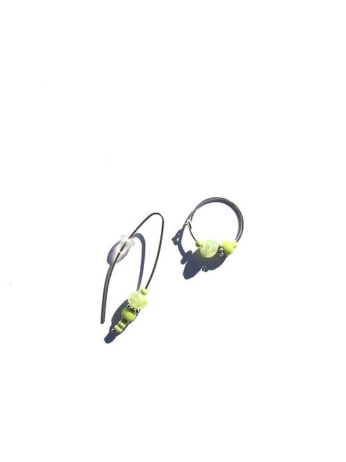 lime swueeze sterling silver & green crystal earrings