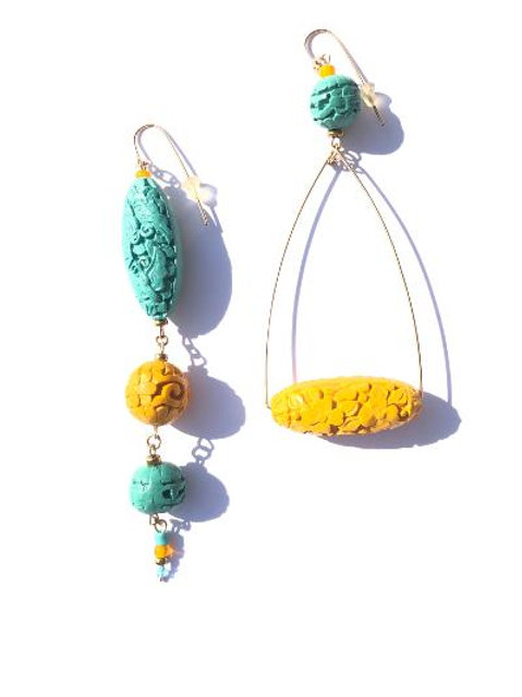rising sun yellow & turquoise cinnabar earrings
