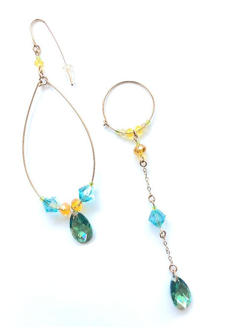 teacup teal swarovski crystal with turquoise & yellow crystal earrings