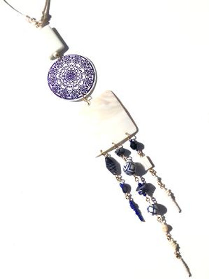 midnight clouds mother of pearl, porcelain & lapis lazuli neckpiece