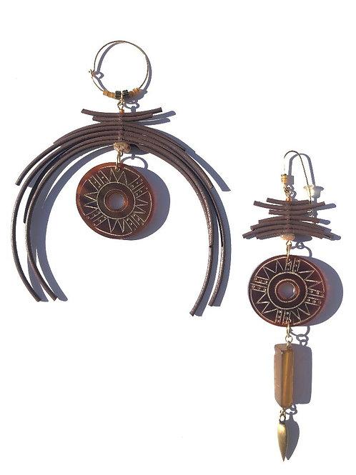 chocolate & root beer brown leather & buffalo horn earings