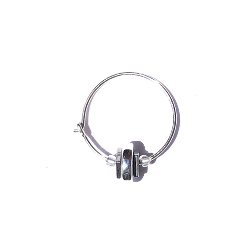 silver back sterling silver & quartz mini hoop