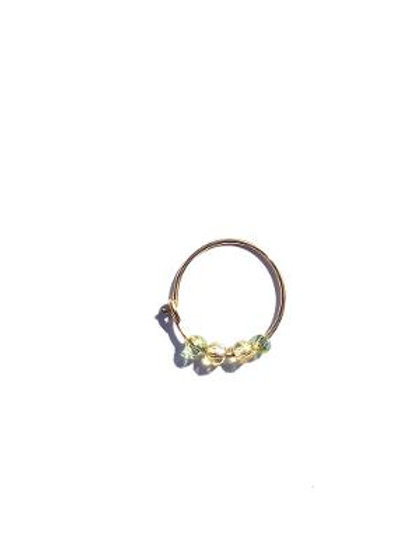 empress temptress green & champagne crystal small single hoop