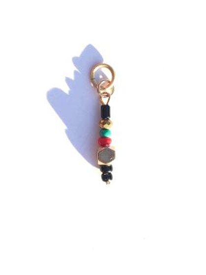 red, black & green glass with crystal & quartz loc charm