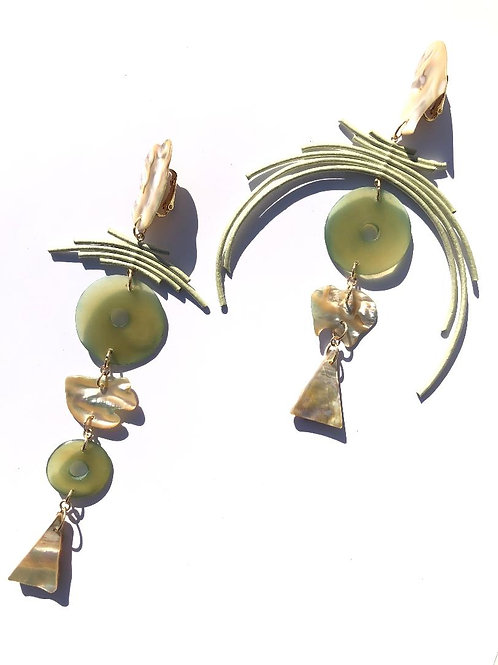 silent beauty celery metallic leather & natural abalone earrings