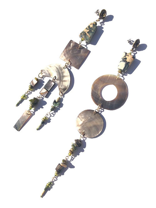 spiritual architecture green abalone shell & jasper earrings