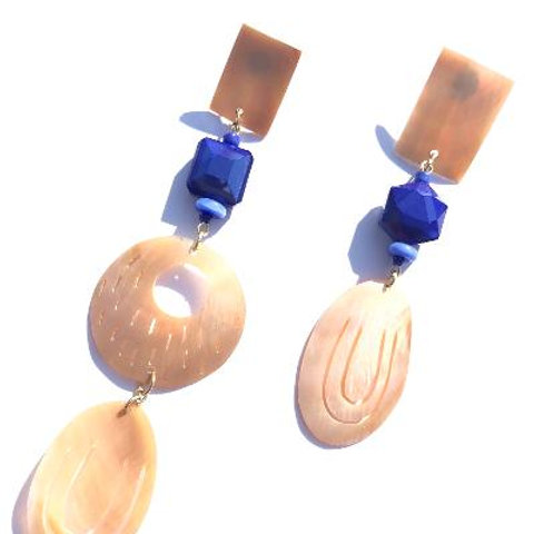 sea breeze abalone shell & blue crystal earrings