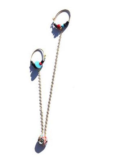 world traveler onyx, cat's eye & trade bead double single