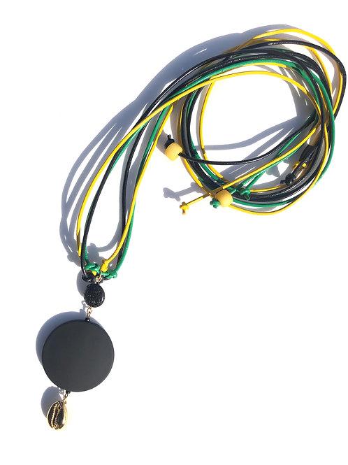 montego bay black rubber, black lava & gold cowrie neckpiece