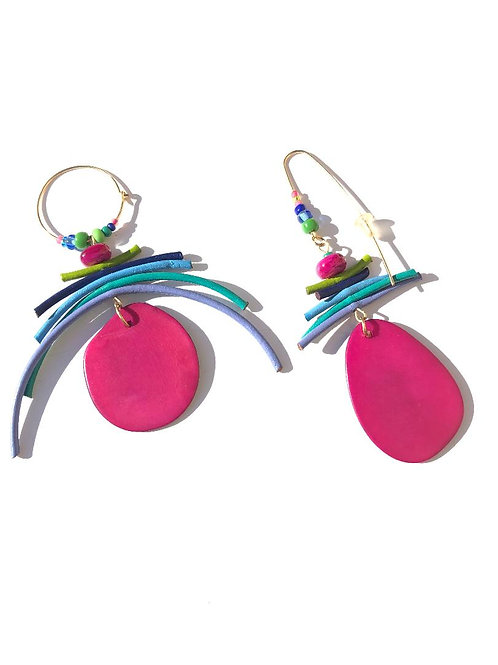cool tropics pink chestnut with lime, violet & turquoise leather earrings